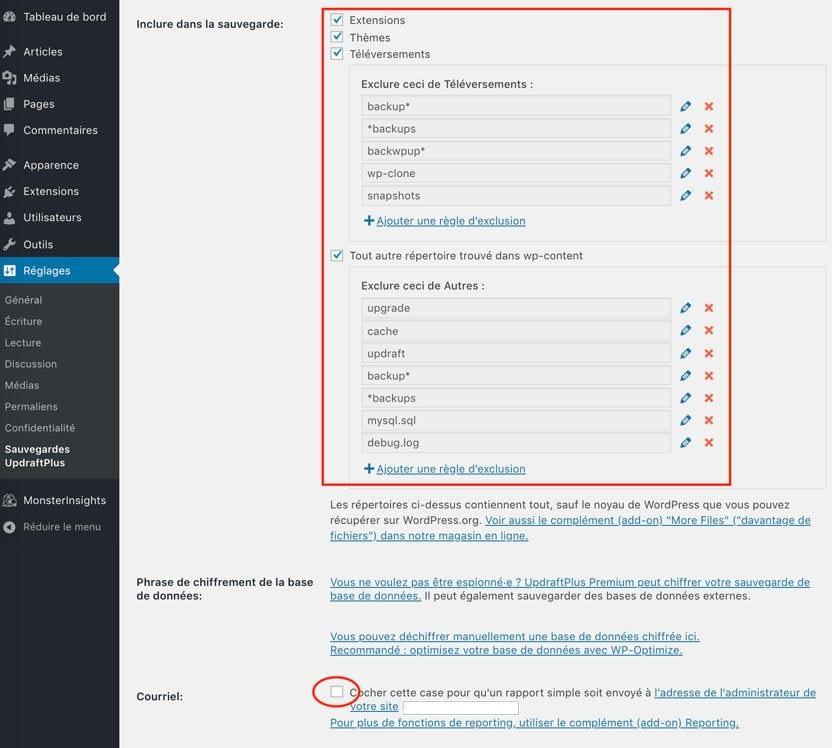 UpdraftPlus configuration sauvegarder son site WordPress