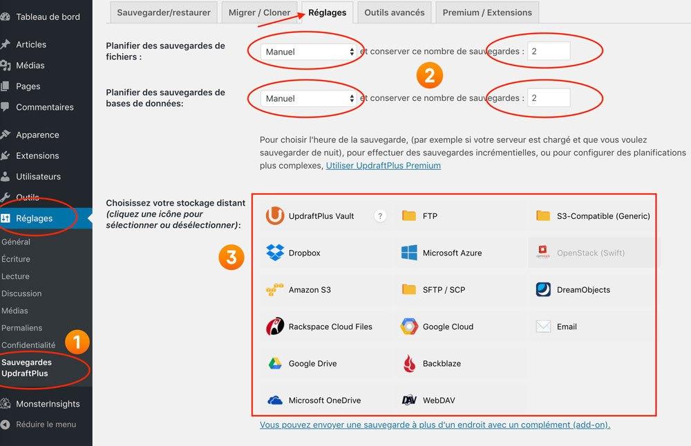 UpdraftPlus configuration sauver son blog