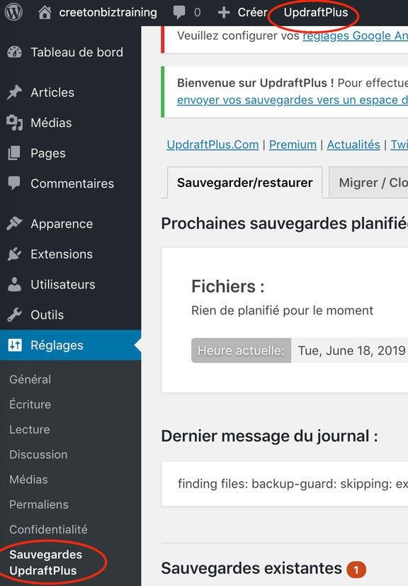 Sauvegarder WordPress